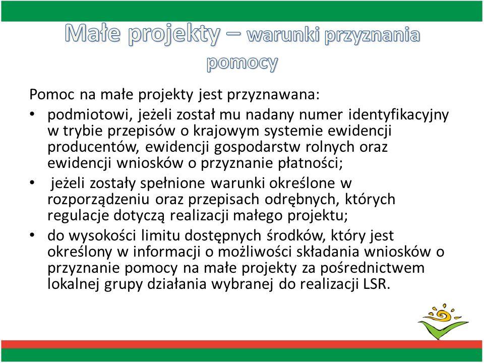 Pomoc na małe projekty jest przyznawana: podmiotowi, jeżeli został mu nadany numer identyfikacyjny w trybie przepisów o krajowym systemie ewidencji pr