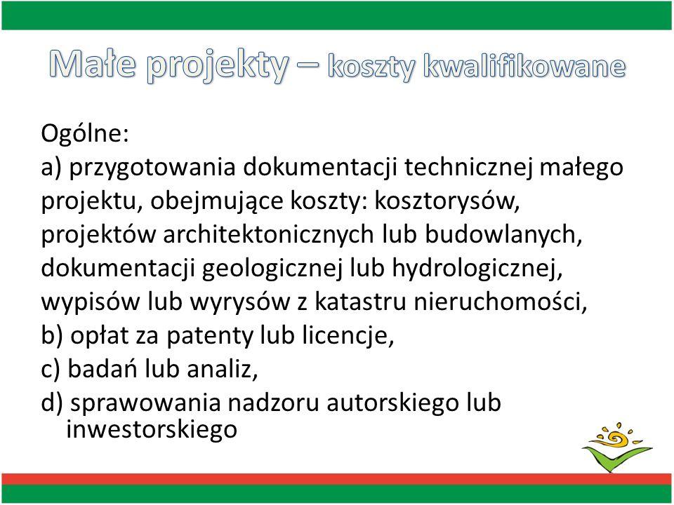 Ogólne: a) przygotowania dokumentacji technicznej małego projektu, obejmujące koszty: kosztorysów, projektów architektonicznych lub budowlanych, dokum