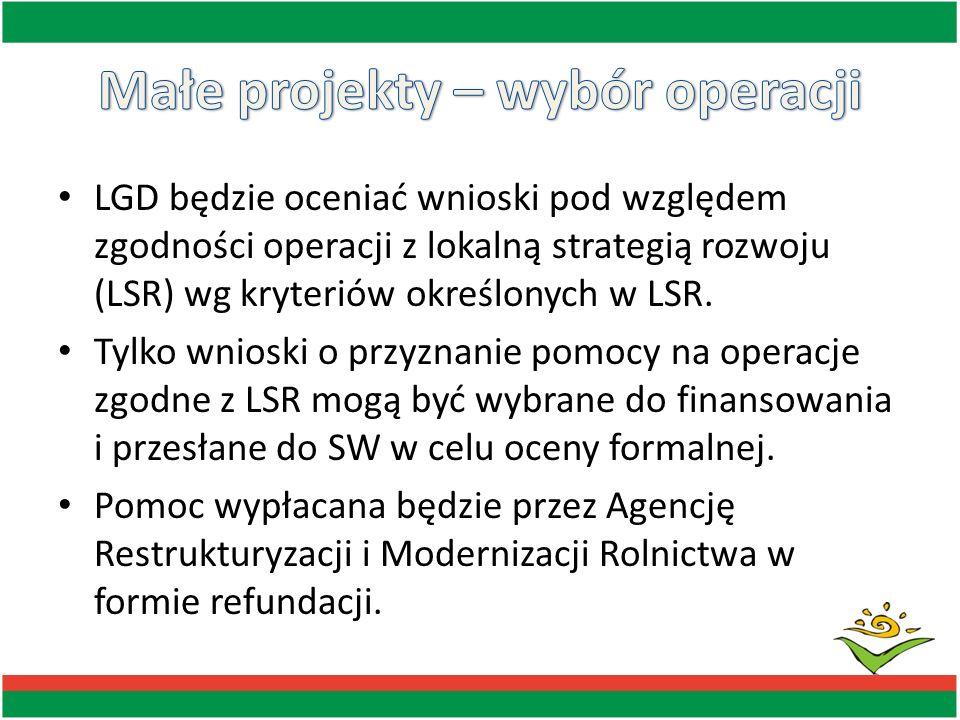 LGD będzie oceniać wnioski pod względem zgodności operacji z lokalną strategią rozwoju (LSR) wg kryteriów określonych w LSR. Tylko wnioski o przyznani