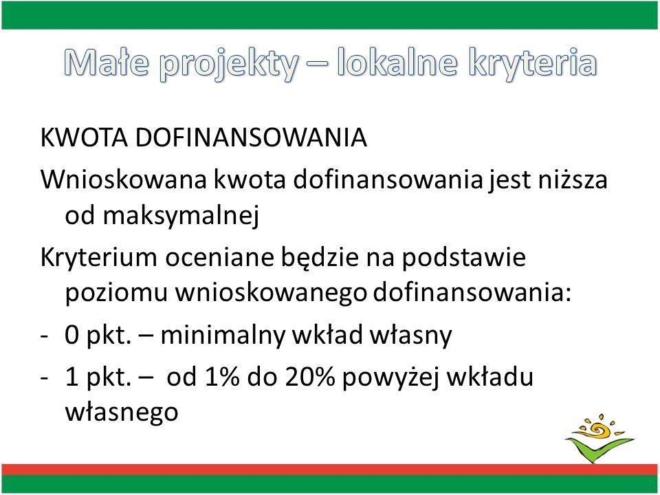KWOTA DOFINANSOWANIA Wnioskowana kwota dofinansowania jest niższa od maksymalnej Kryterium oceniane będzie na podstawie poziomu wnioskowanego dofinans