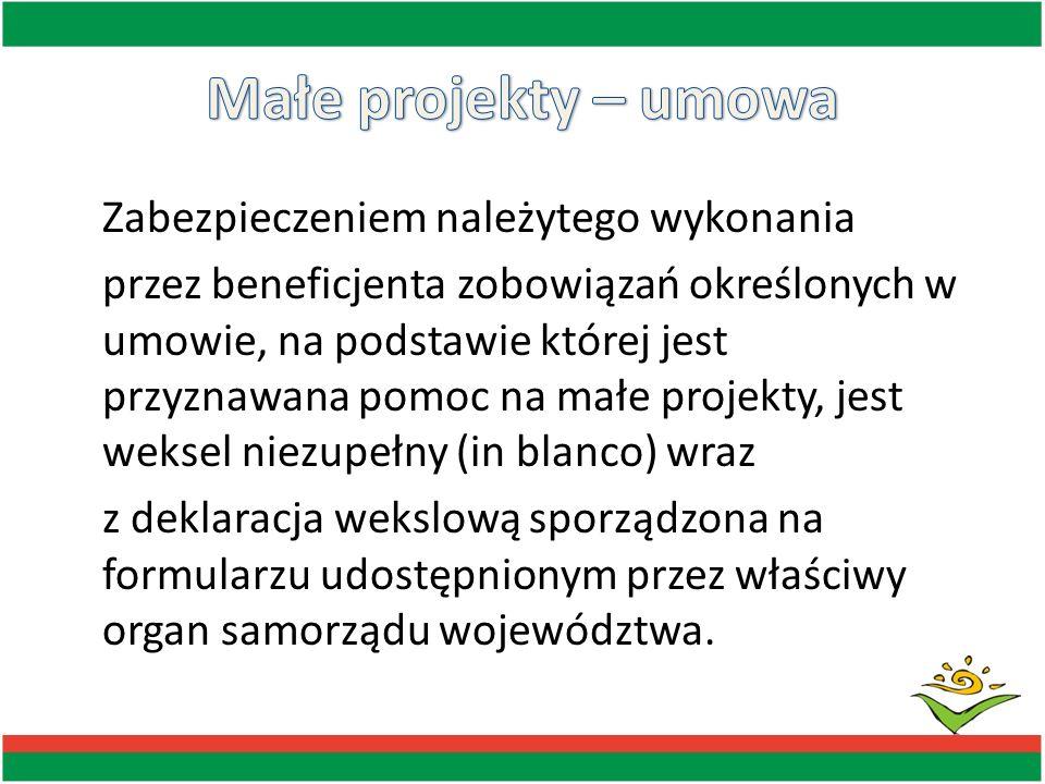 Zabezpieczeniem należytego wykonania przez beneficjenta zobowiązań określonych w umowie, na podstawie której jest przyznawana pomoc na małe projekty,