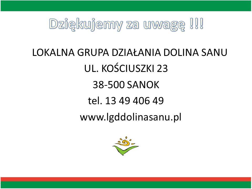 LOKALNA GRUPA DZIAŁANIA DOLINA SANU UL. KOŚCIUSZKI 23 38-500 SANOK tel. 13 49 406 49 www.lgddolinasanu.pl