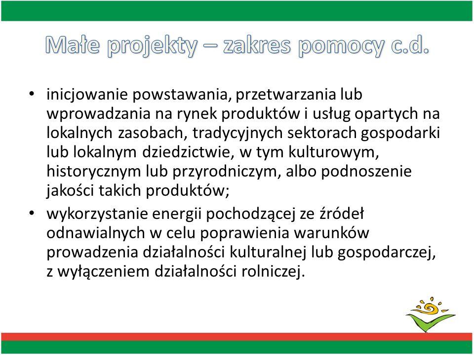 inicjowanie powstawania, przetwarzania lub wprowadzania na rynek produktów i usług opartych na lokalnych zasobach, tradycyjnych sektorach gospodarki l