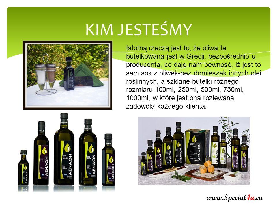NASZ PRODUKT www.Special4u.eu Gdy owoc jest dojrzały zaczyna się produkcja oliwy, która poprzez kolejne etapy (defoliacja, mycie, zacieranie przełomowe) prowadzi do istotnego procesu wyrabiania.