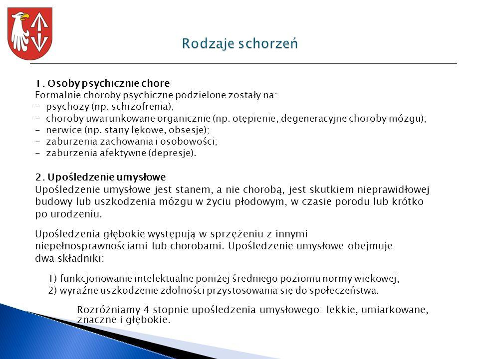 1. Osoby psychicznie chore Formalnie choroby psychiczne podzielone zostały na: - psychozy (np. schizofrenia); - choroby uwarunkowane organicznie (np.
