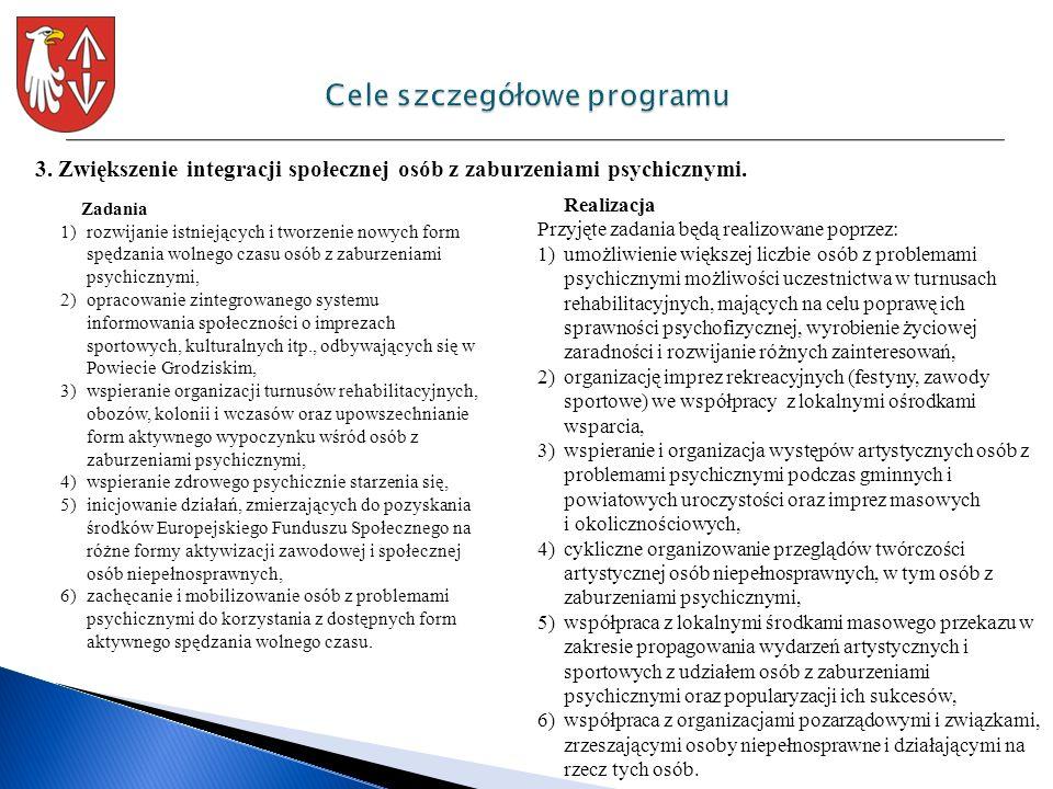 3. Zwiększenie integracji społecznej osób z zaburzeniami psychicznymi. Zadania 1)rozwijanie istniejących i tworzenie nowych form spędzania wolnego cza