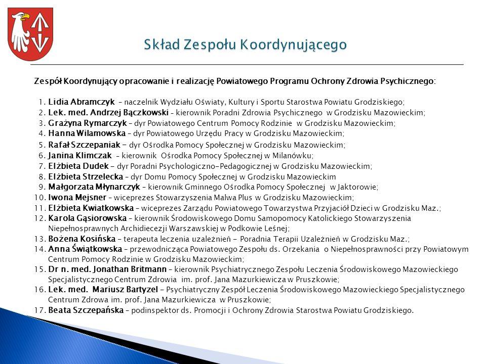 Zespół Koordynujący opracowanie i realizację Powiatowego Programu Ochrony Zdrowia Psychicznego: 1. Lidia Abramczyk – naczelnik Wydziału Oświaty, Kultu