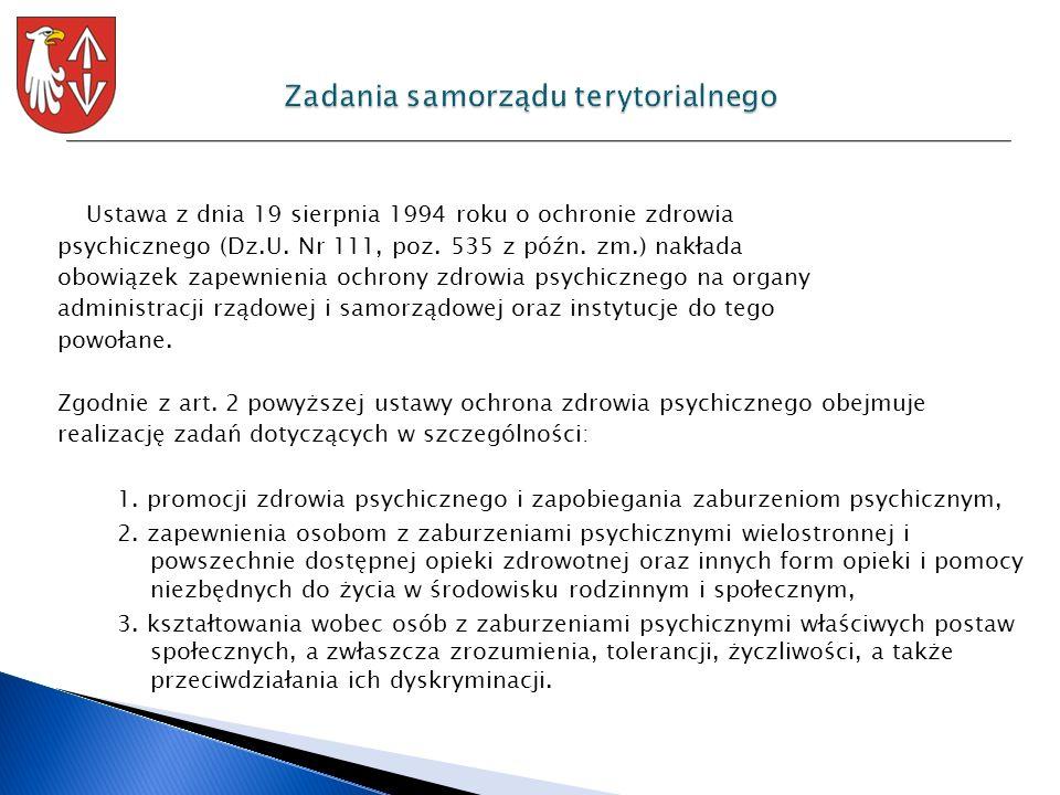 Ustawa z dnia 19 sierpnia 1994 roku o ochronie zdrowia psychicznego (Dz.U. Nr 111, poz. 535 z późn. zm.) nakłada obowiązek zapewnienia ochrony zdrowia