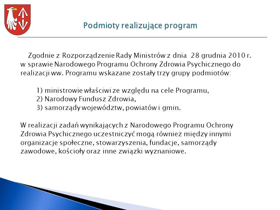 Zgodnie z Rozporządzenie Rady Ministrów z dnia 28 grudnia 2010 r. w sprawie Narodowego Programu Ochrony Zdrowia Psychicznego do realizacji ww. Program