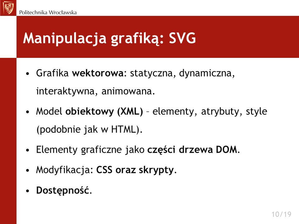 Manipulacja grafiką: SVG Grafika wektorowa: statyczna, dynamiczna, interaktywna, animowana. Model obiektowy (XML) – elementy, atrybuty, style (podobni