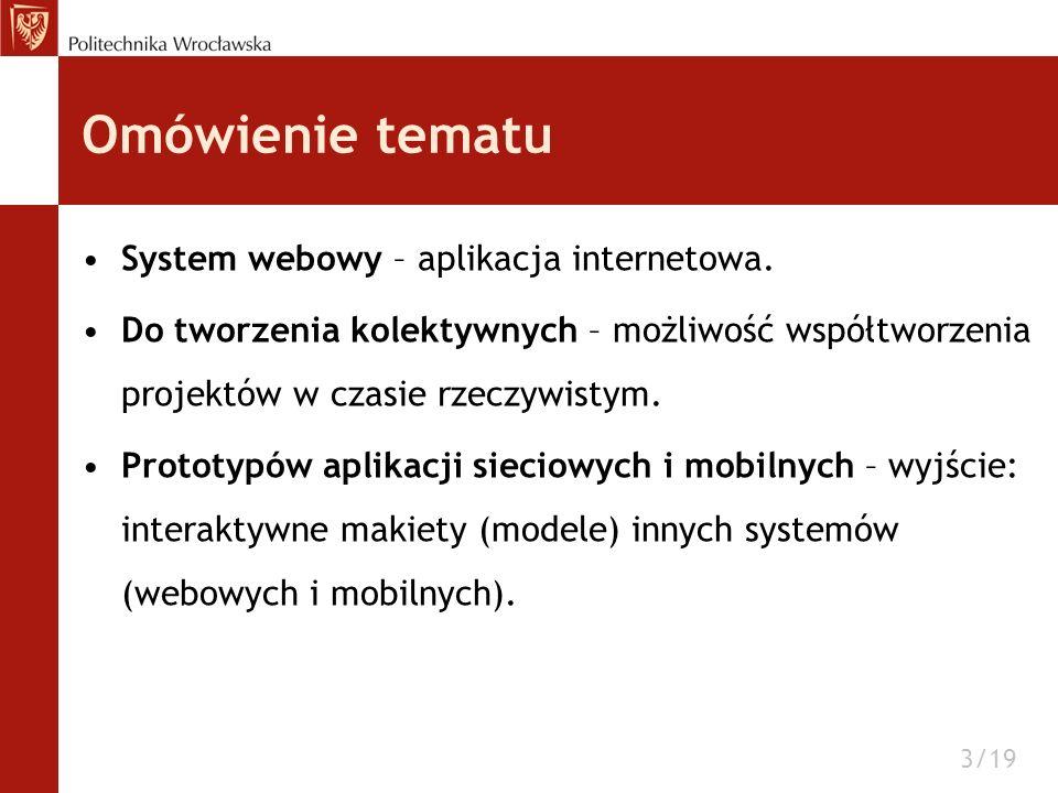 Funkcje Część default –obsługa użytkownika: logowanie, tworzenie nowego konta etc., –zarządzanie projektami i makietami: usuwanie, edycja parametrów, –tworzenie nowego projektu i makiety w projekcie, –zarządzanie użytkownikami w projekcie.