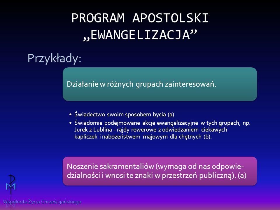 Wspólnota Życia Chrześcijańskiego PROGRAM APOSTOLSKI EWANGELIZACJA Działanie w różnych grupach zainteresowań.