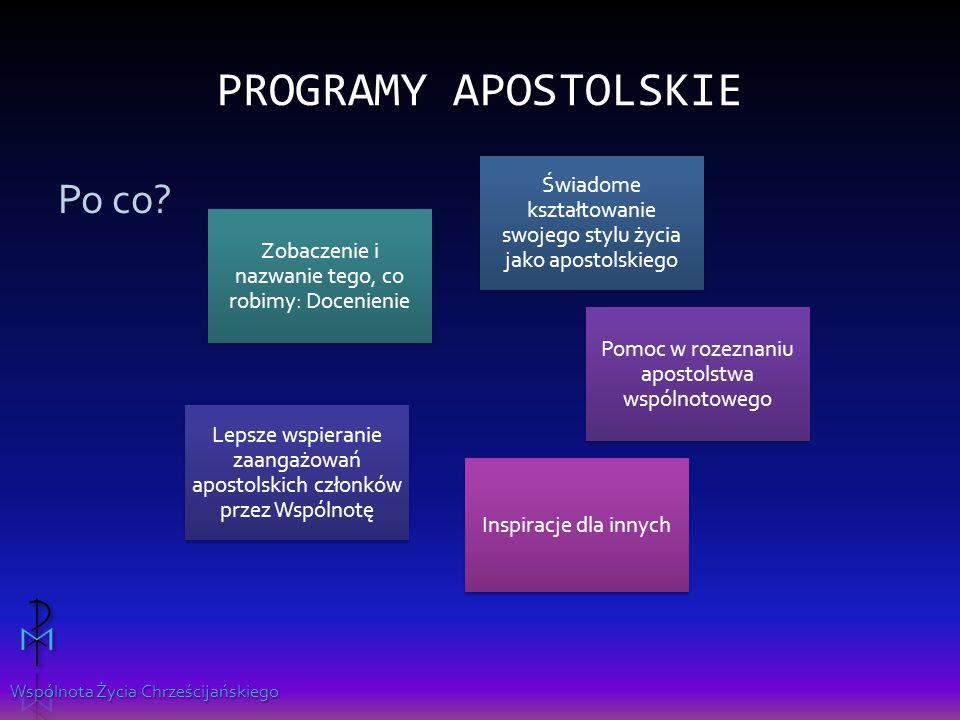 Wspólnota Życia Chrześcijańskiego PROGRAMY APOSTOLSKIE Po co.