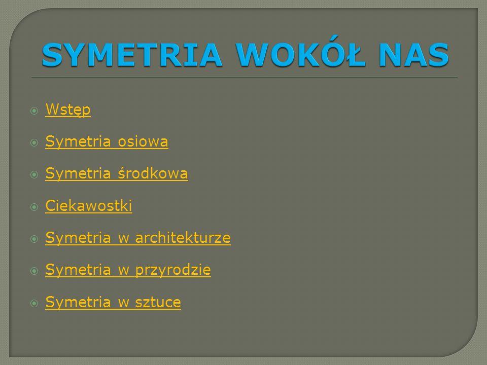 Wstęp Symetria osiowa Symetria środkowa Ciekawostki Symetria w architekturze Symetria w przyrodzie Symetria w sztuce