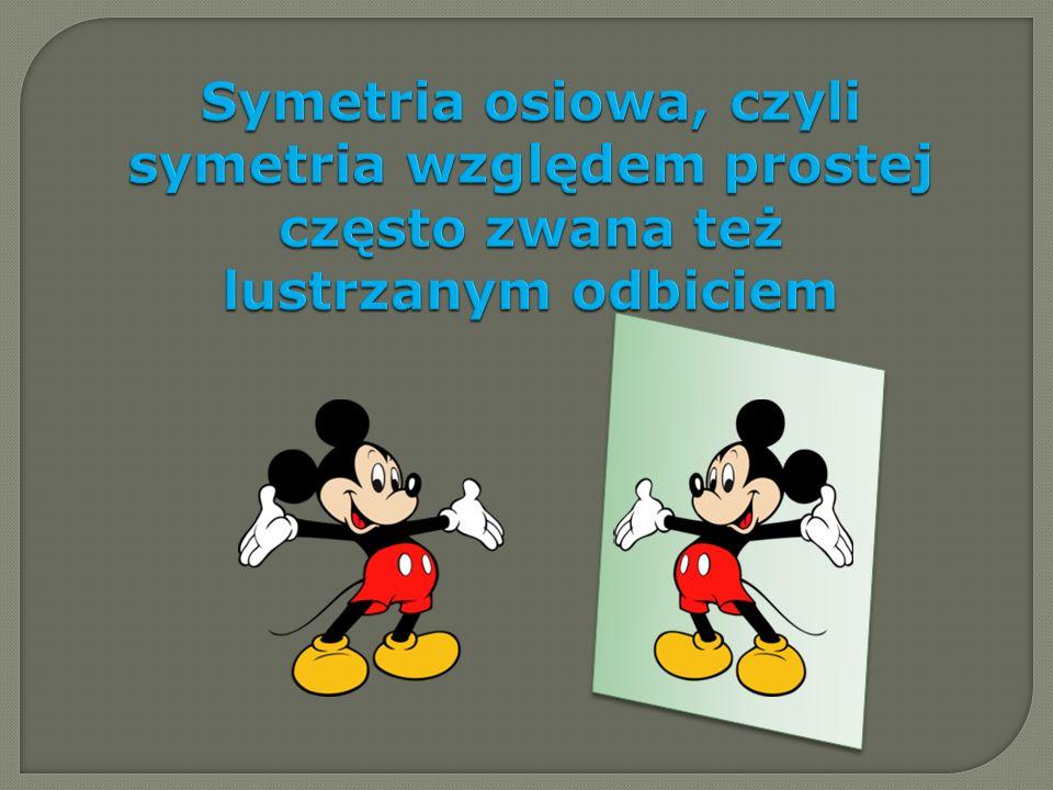 Symetria osiowa, czyli symetria względem prostej często zwana też lustrzanym odbiciem