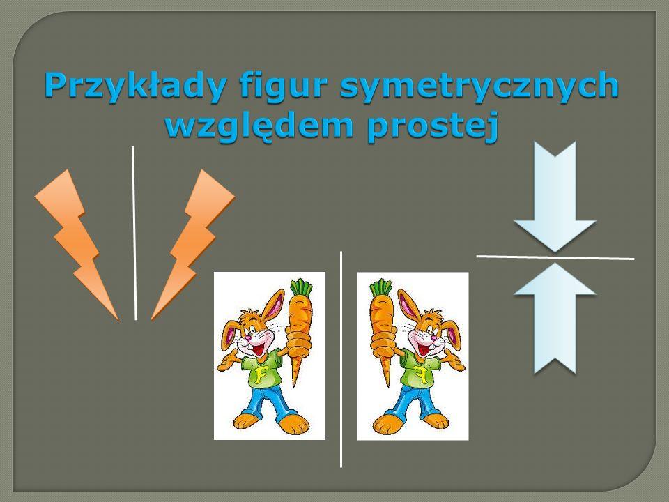 Figury środkowosymetryczne Jeżeli figura jest symetryczna sama do siebie względem punktu S to punkt S nazywamy środkiem symetrii tej figury.