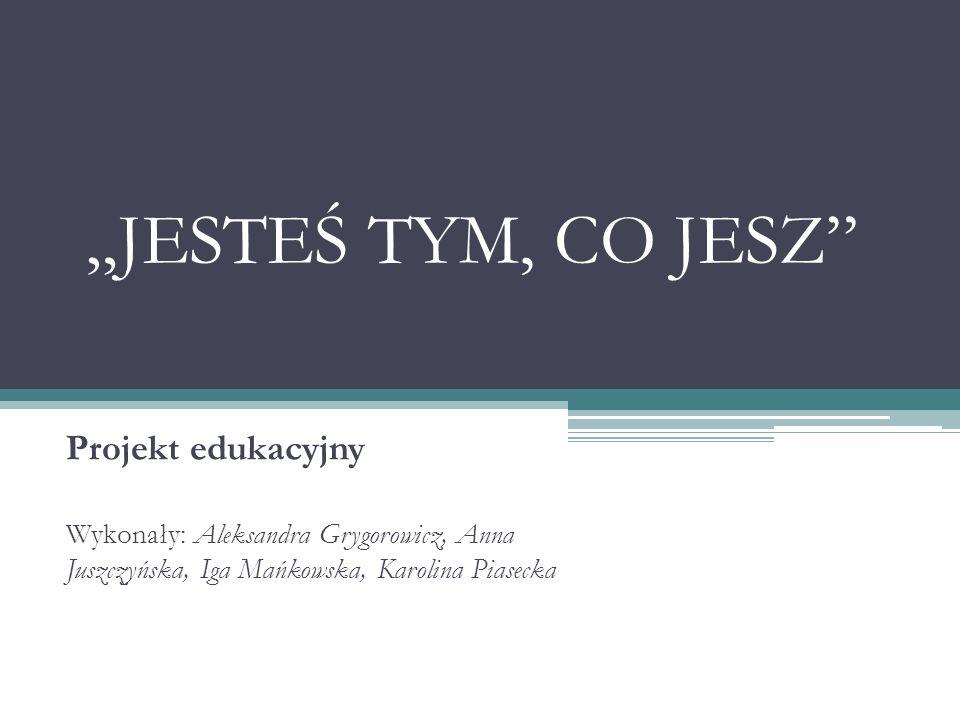 JESTEŚ TYM, CO JESZ Projekt edukacyjny Wykonały: Aleksandra Grygorowicz, Anna Juszczyńska, Iga Mańkowska, Karolina Piasecka