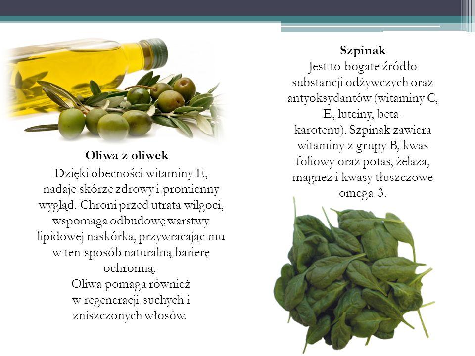 Oliwa z oliwek Dzięki obecności witaminy E, nadaje skórze zdrowy i promienny wygląd. Chroni przed utrata wilgoci, wspomaga odbudowę warstwy lipidowej