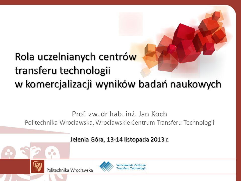 Rola uczelnianych centrów transferu technologii w komercjalizacji wyników badań naukowych Jelenia Góra, 13-14 listopada 2013 r.