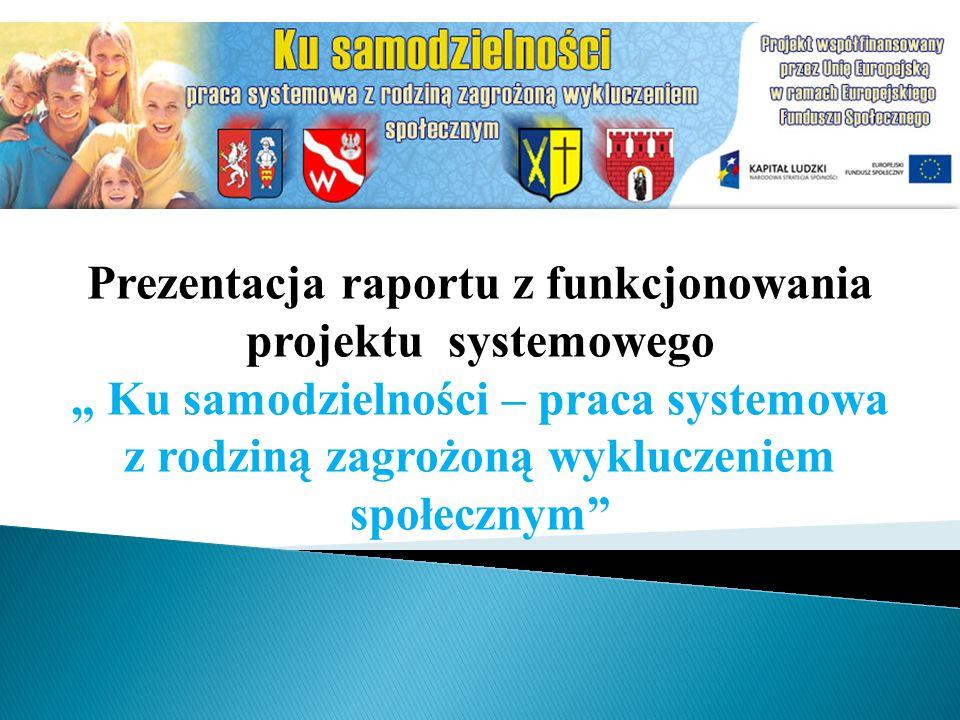 Prezentacja raportu z funkcjonowania projektu systemowego Ku samodzielności – praca systemowa z rodziną zagrożoną wykluczeniem społecznym