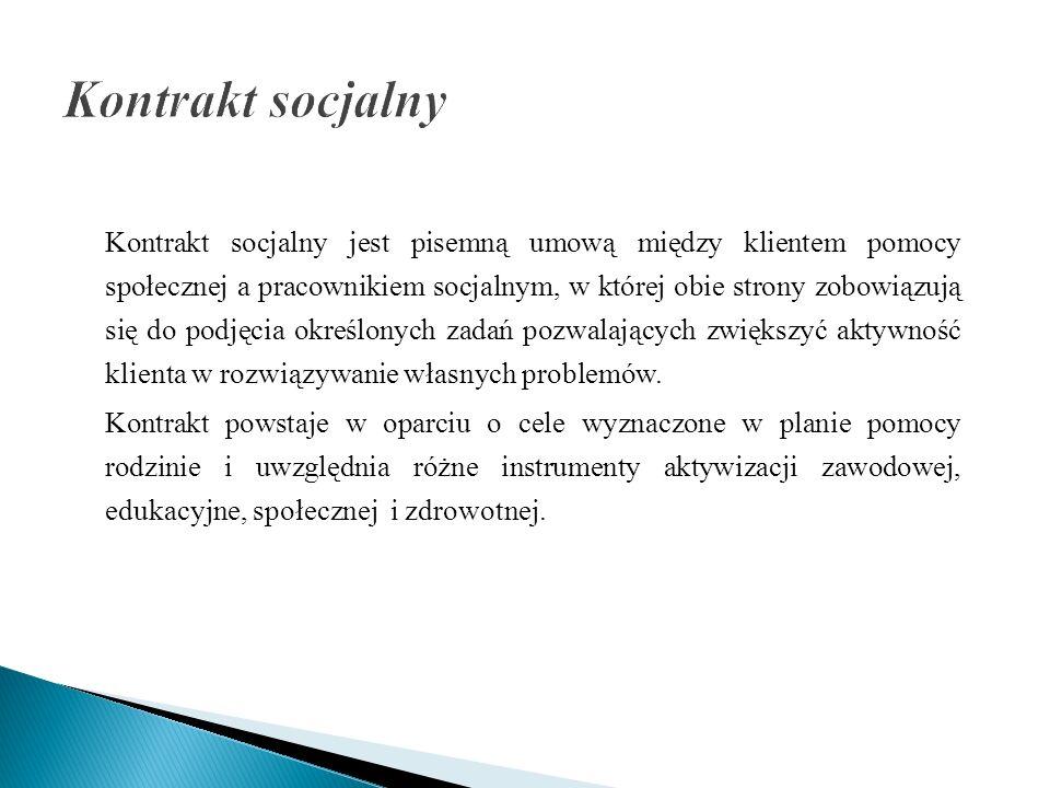 Kontrakt socjalny jest pisemną umową między klientem pomocy społecznej a pracownikiem socjalnym, w której obie strony zobowiązują się do podjęcia okre