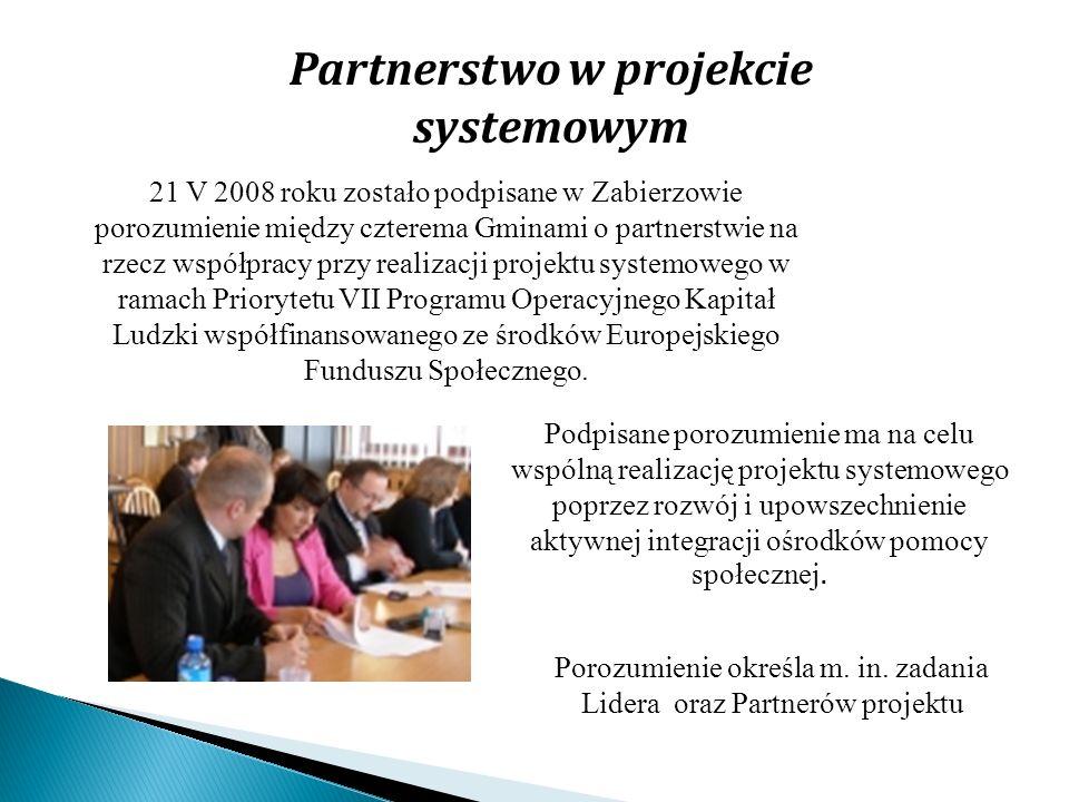 Partnerstwo w projekcie systemowym 21 V 2008 roku zostało podpisane w Zabierzowie porozumienie między czterema Gminami o partnerstwie na rzecz współpr