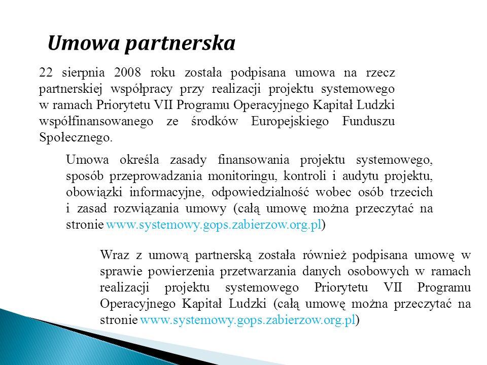 Umowa partnerska 22 sierpnia 2008 roku została podpisana umowa na rzecz partnerskiej współpracy przy realizacji projektu systemowego w ramach Prioryte