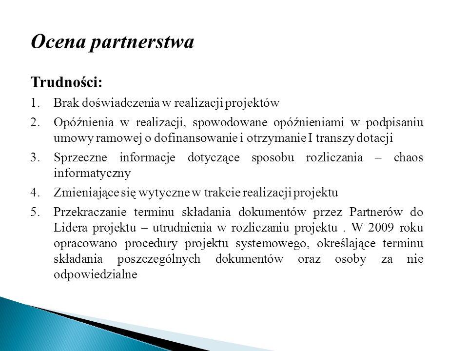 Ocena partnerstwa Trudności: 1.Brak doświadczenia w realizacji projektów 2.Opóźnienia w realizacji, spowodowane opóźnieniami w podpisaniu umowy ramowe