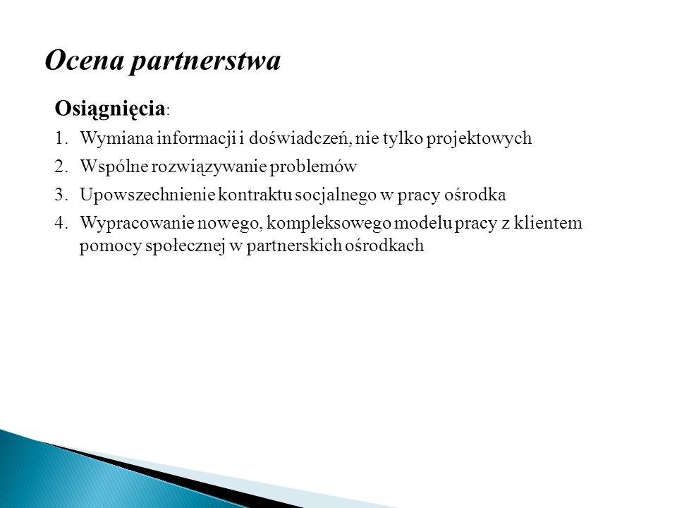 Ocena partnerstwa Osiągnięcia : 1.Wymiana informacji i doświadczeń, nie tylko projektowych 2.Wspólne rozwiązywanie problemów 3.Upowszechnienie kontrak