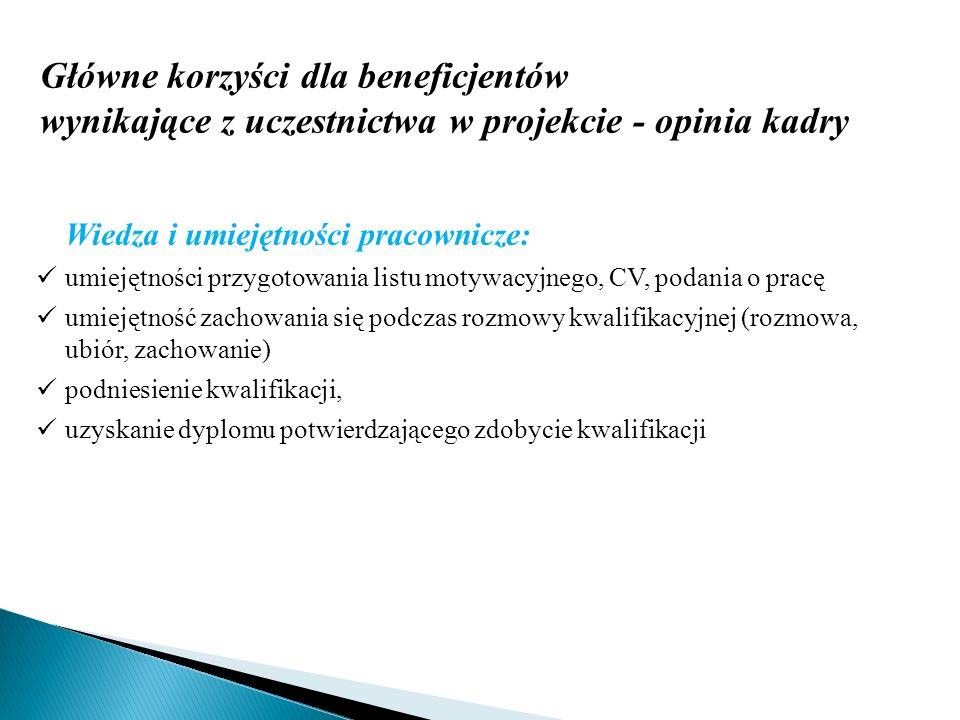 Główne korzyści dla beneficjentów wynikające z uczestnictwa w projekcie - opinia kadry Wiedza i umiejętności pracownicze: umiejętności przygotowania l