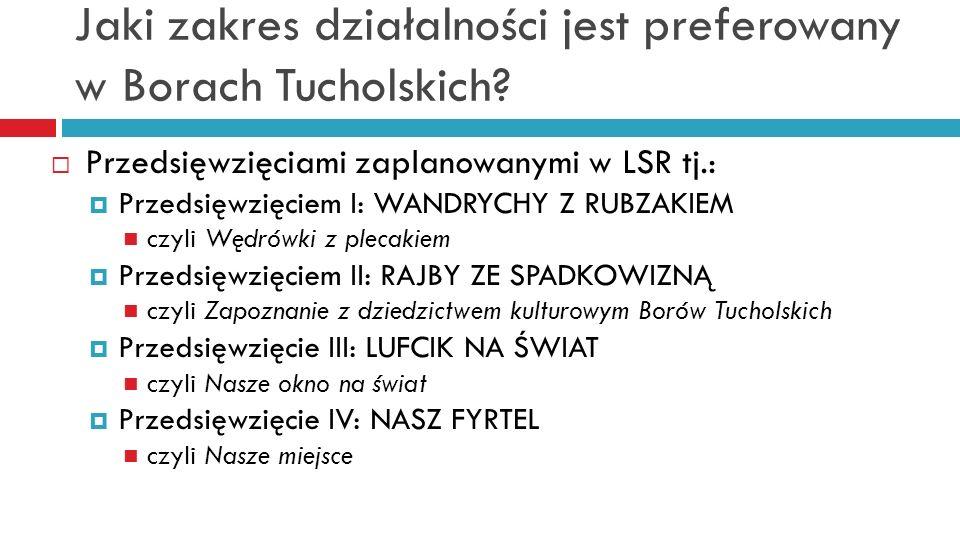 Jaki zakres działalności jest preferowany w Borach Tucholskich? Przedsięwzięciami zaplanowanymi w LSR tj.: Przedsięwzięciem I: WANDRYCHY Z RUBZAKIEM c