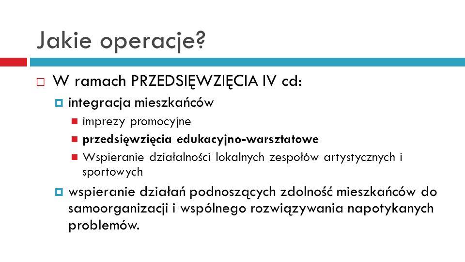 Jakie operacje? W ramach PRZEDSIĘWZIĘCIA IV cd: integracja mieszkańców imprezy promocyjne przedsięwzięcia edukacyjno-warsztatowe Wspieranie działalnoś