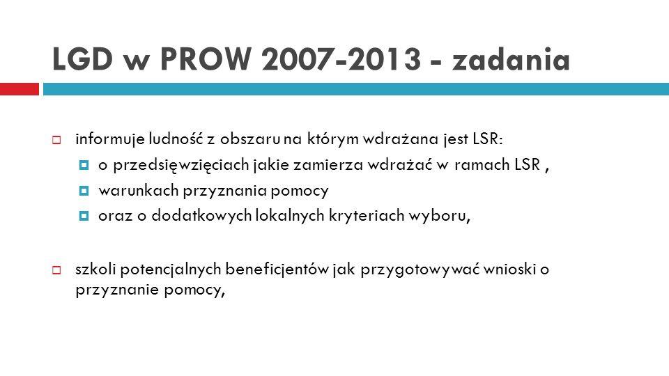 LGD w PROW 2007-2013 - zadania wnioskuje do SW o ogłoszenie naboru wniosków o przyznanie pomocy, zamieszcza informację o otwarciu naboru na stronie internetowej oraz w siedzibie na tablicy ogłoszeń, przeprowadza nabór wniosków o przyznanie pomocy, ocenia zgodność operacji z LSR, ocenia operacje na podstawie lokalnych kryteriów wyboru, wybiera najlepsze operacje do finansowania (z puli wniosków na operacje zgodne z LSR).