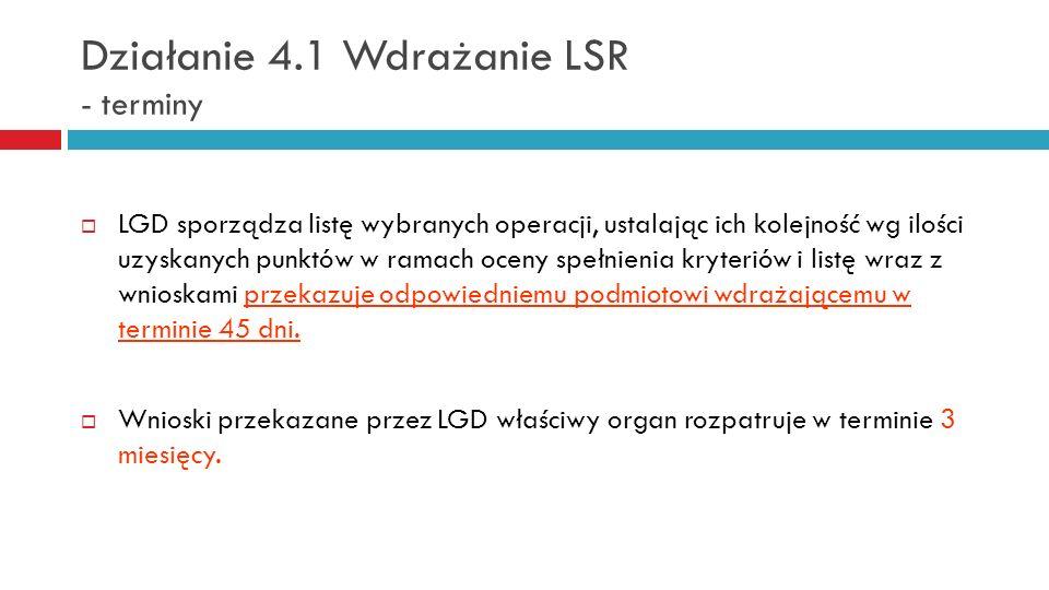 Działanie 4.1 Wdrażanie LSR - terminy LGD sporządza listę wybranych operacji, ustalając ich kolejność wg ilości uzyskanych punktów w ramach oceny speł