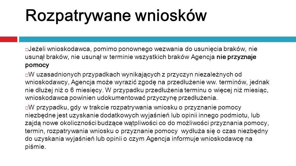 Jeżeli wnioskodawca, pomimo ponownego wezwania do usunięcia braków, nie usunął braków, nie usunął w terminie wszystkich braków Agencja nie przyznaje p