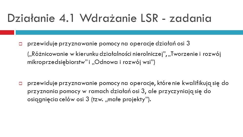 Działanie 4.1 Wdrażanie LSR - zadania przewiduje przyznawanie pomocy na operacje działań osi 3 (Różnicowanie w kierunku działalności nierolniczej, Two