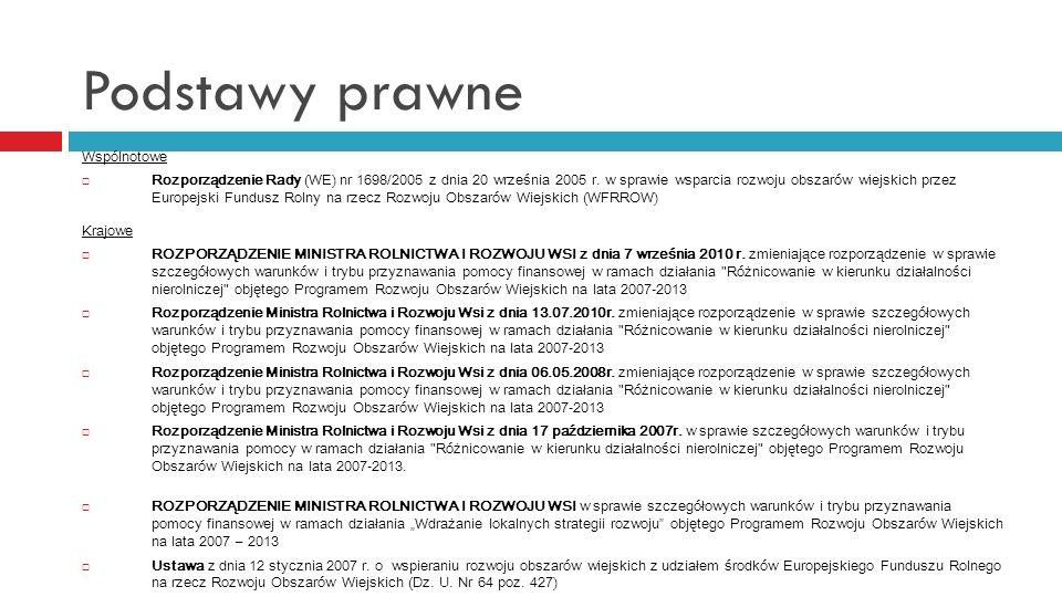 Podstawy prawne Wspólnotowe Rozporządzenie Rady (WE) nr 1698/2005 z dnia 20 września 2005 r. w sprawie wsparcia rozwoju obszarów wiejskich przez Europ