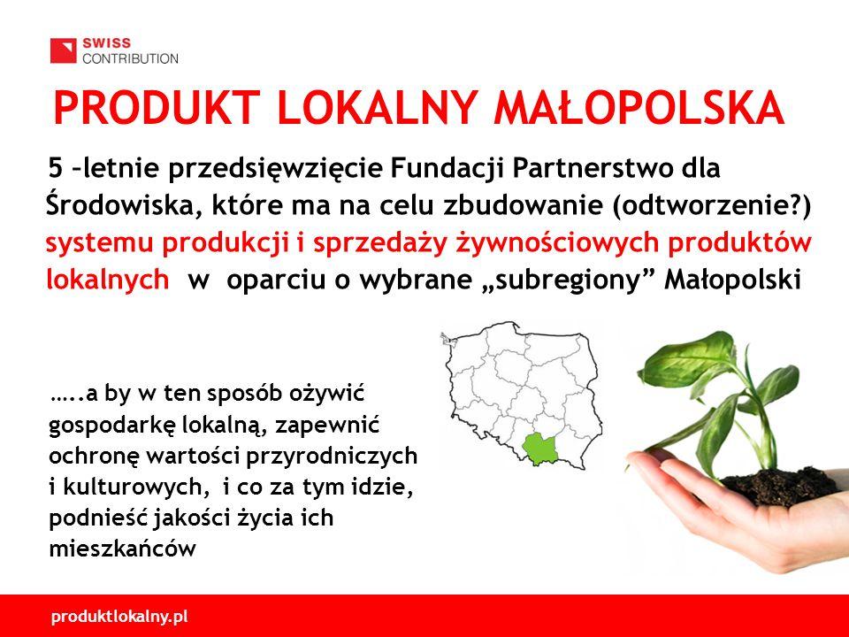 produktlokalny.pl PRODUKT LOKALNY MAŁOPOLSKA 5 –letnie przedsięwzięcie Fundacji Partnerstwo dla Środowiska, które ma na celu zbudowanie (odtworzenie ) systemu produkcji i sprzedaży żywnościowych produktów lokalnych w oparciu o wybrane subregiony Małopolski …..a by w ten sposób ożywić gospodarkę lokalną, zapewnić ochronę wartości przyrodniczych i kulturowych, i co za tym idzie, podnieść jakości życia ich mieszkańców