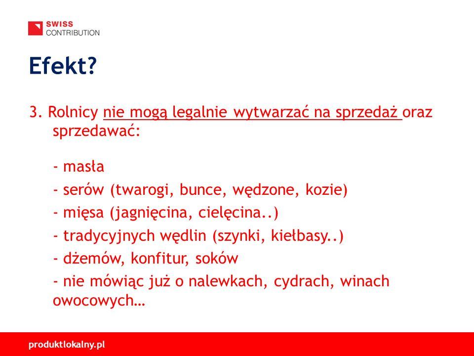 produktlokalny.pl 3. Rolnicy nie mogą legalnie wytwarzać na sprzedaż oraz sprzedawać: - masła - serów (twarogi, bunce, wędzone, kozie) - mięsa (jagnię