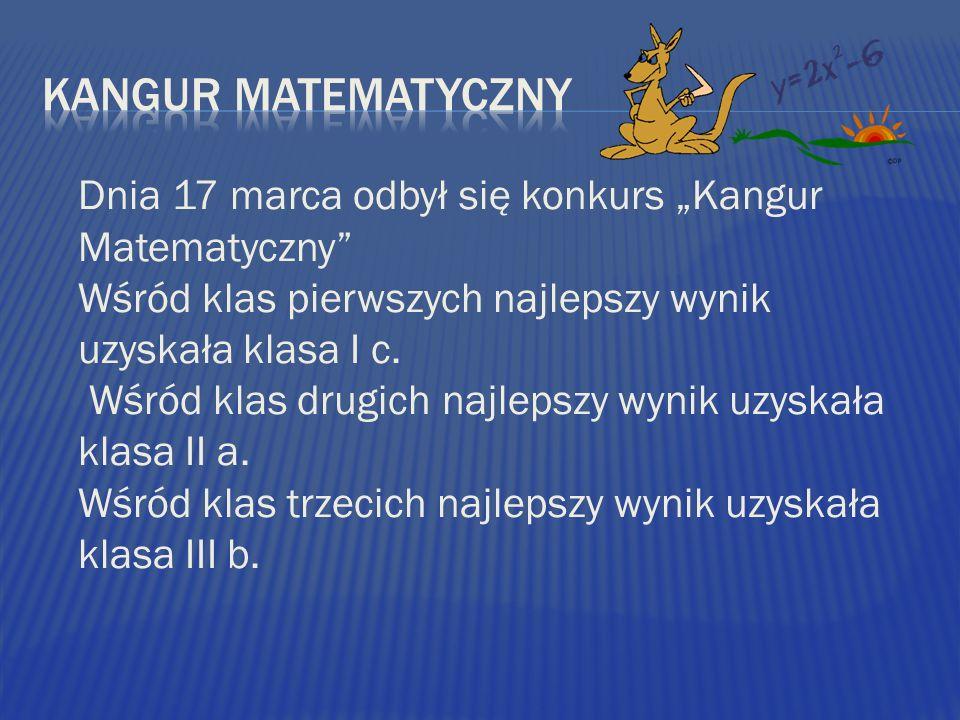 Dnia 17 marca odbył się konkurs Kangur Matematyczny Wśród klas pierwszych najlepszy wynik uzyskała klasa I c. Wśród klas drugich najlepszy wynik uzysk