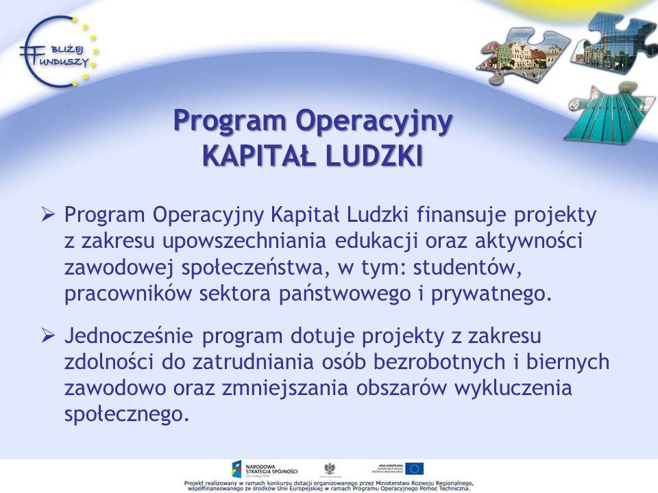 Program Operacyjny KAPITAŁ LUDZKI Program Operacyjny Kapitał Ludzki finansuje projekty z zakresu upowszechniania edukacji oraz aktywności zawodowej społeczeństwa, w tym: studentów, pracowników sektora państwowego i prywatnego.