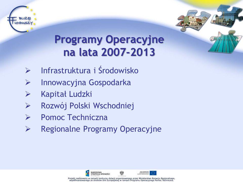 Programy Operacyjne na lata 2007-2013 Infrastruktura i Środowisko Innowacyjna Gospodarka Kapitał Ludzki Rozwój Polski Wschodniej Pomoc Techniczna Regionalne Programy Operacyjne