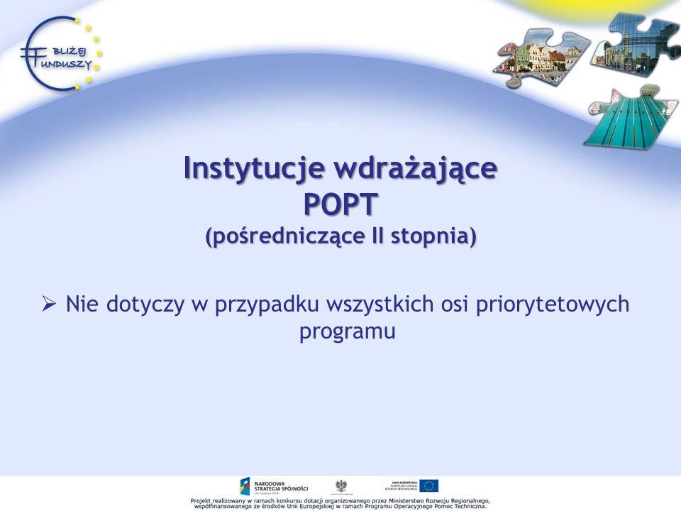 Instytucje wdrażające POPT (pośredniczące II stopnia) Nie dotyczy w przypadku wszystkich osi priorytetowych programu