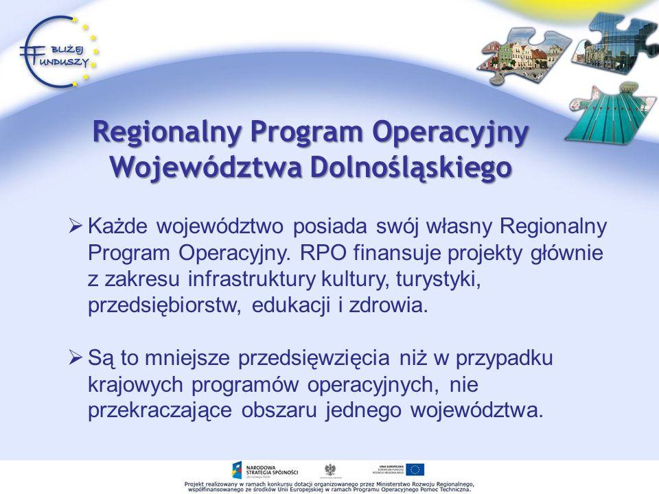 Każde województwo posiada swój własny Regionalny Program Operacyjny.