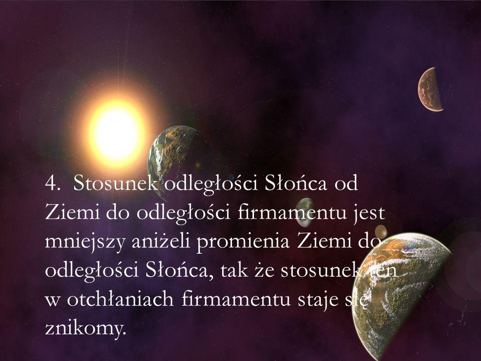 4. Stosunek odległości Słońca od Ziemi do odległości firmamentu jest mniejszy aniżeli promienia Ziemi do odległości Słońca, tak że stosunek ten w otch