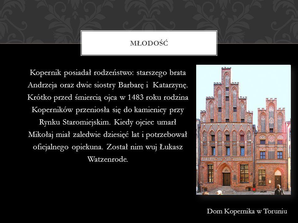 W osiemnastym roku życia za sprawą wuja Łukasza Watzenrode Kopernik udał się do Krakowa na studia uniwersyteckie, które kończył w latach 1491- 1495.