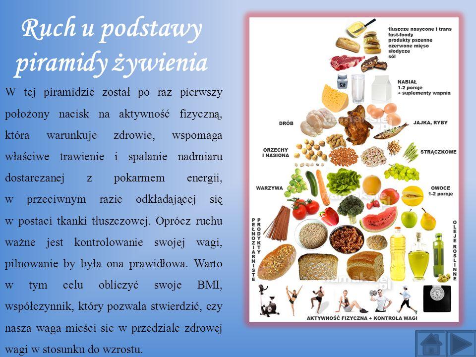 Ruch u podstawy piramidy żywienia W tej piramidzie został po raz pierwszy położony nacisk na aktywność fizyczną, która warunkuje zdrowie, wspomaga wła