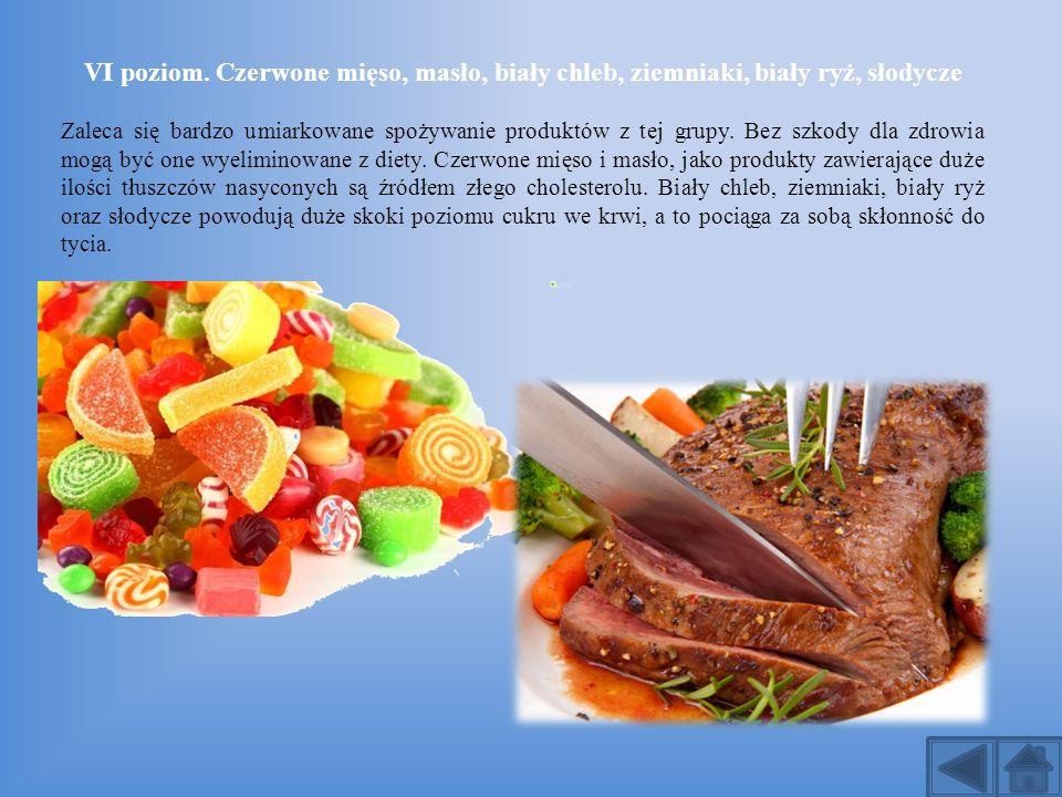 VI poziom. Czerwone mięso, masło, biały chleb, ziemniaki, biały ryż, słodycze Zaleca się bardzo umiarkowane spożywanie produktów z tej grupy. Bez szko