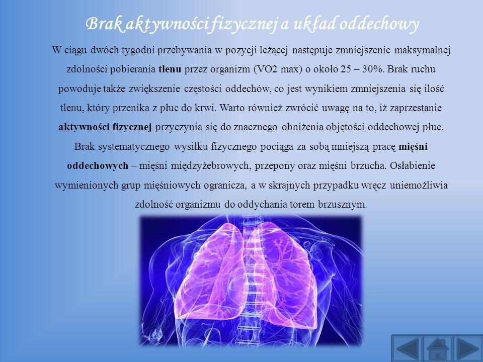 Brak aktywności fizycznej a układ oddechowy W ciągu dwóch tygodni przebywania w pozycji leżącej następuje zmniejszenie maksymalnej zdolności pobierani