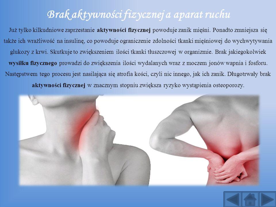Brak aktywności fizycznej a aparat ruchu Już tylko kilkudniowe zaprzestanie aktywności fizycznej powoduje zanik mięśni. Ponadto zmniejsza się także ic